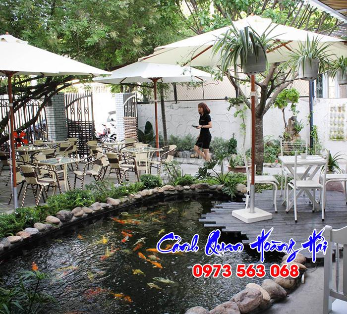 Hồ cá koi quán cafe đẹp
